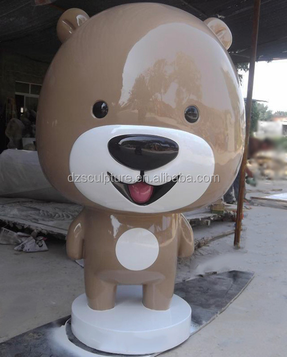 Large fiberglass cartoon chubby bear statue for shop decoration