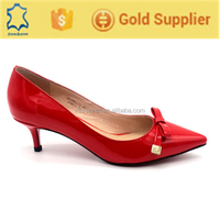 Best selling red leather bridal low heel wedding middle shoes
