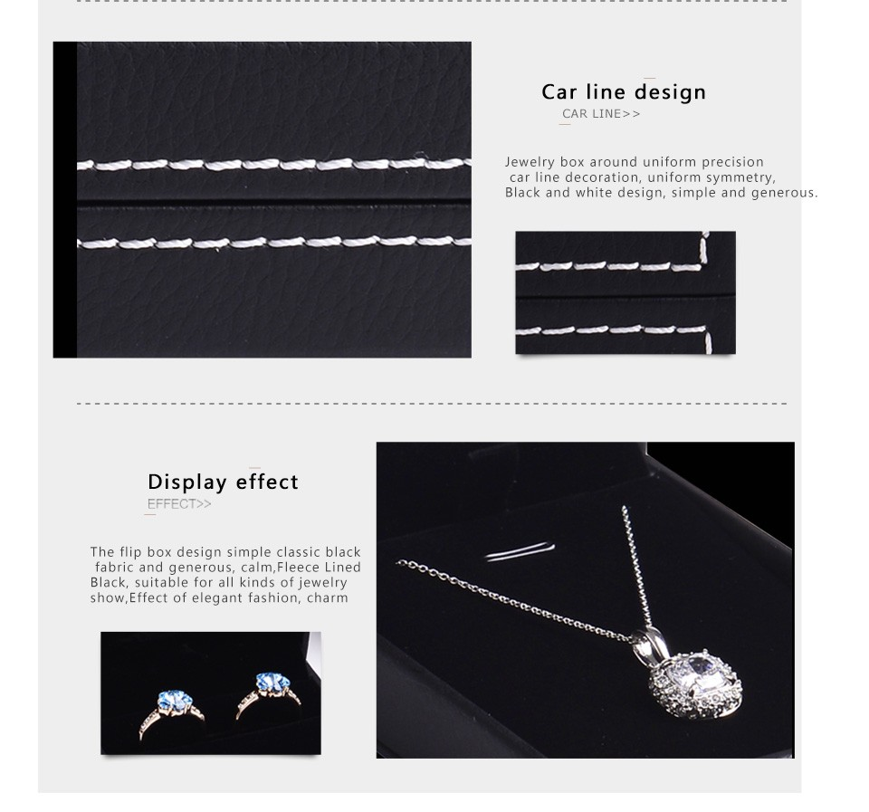 Wholesale custom logo black leather jewellery gift boxes for ring necklace pendant bangle and bracelet leatherette packing box