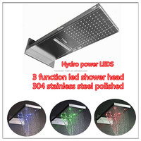 Luxury wall mount stainless steel led rainfall waterfall shower head