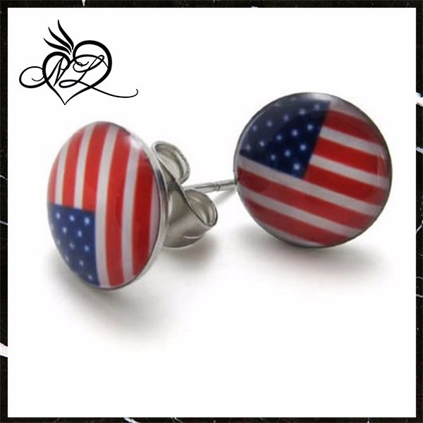 2pcs Stainless Steel USA American Flag Stud Earrings