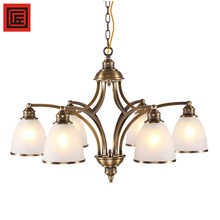 factory Indoor modern hotel copper E27 brass lamp, American frosted glass chandelier pendant Lights