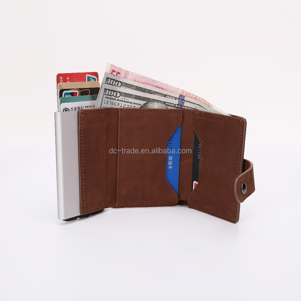 genuine leather mini wallet with aluminium case for rfid wallet and slim wallet
