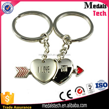 2017 best selling factory price inside heart metal sweet couple keychain