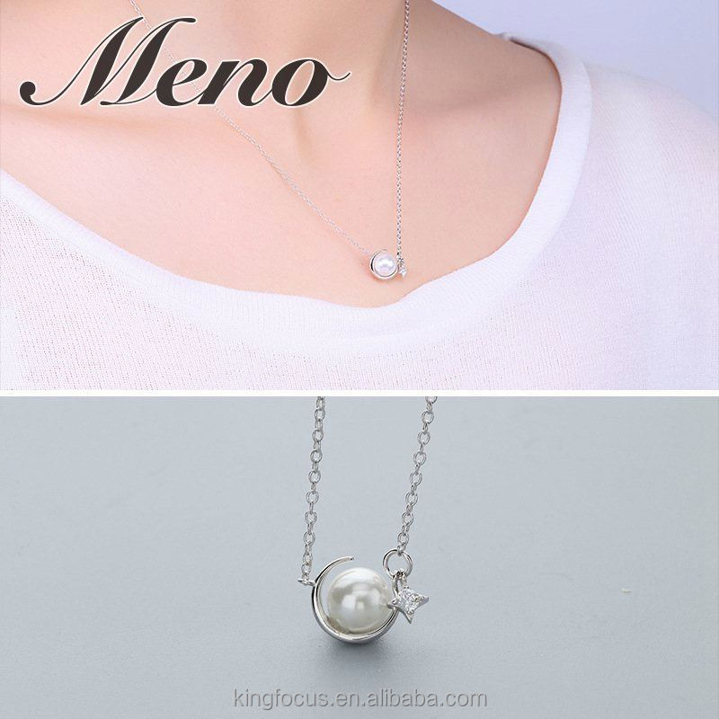 Meno S925 silver necklace lady Korean style modern stylish MOP pearl ball jewelry