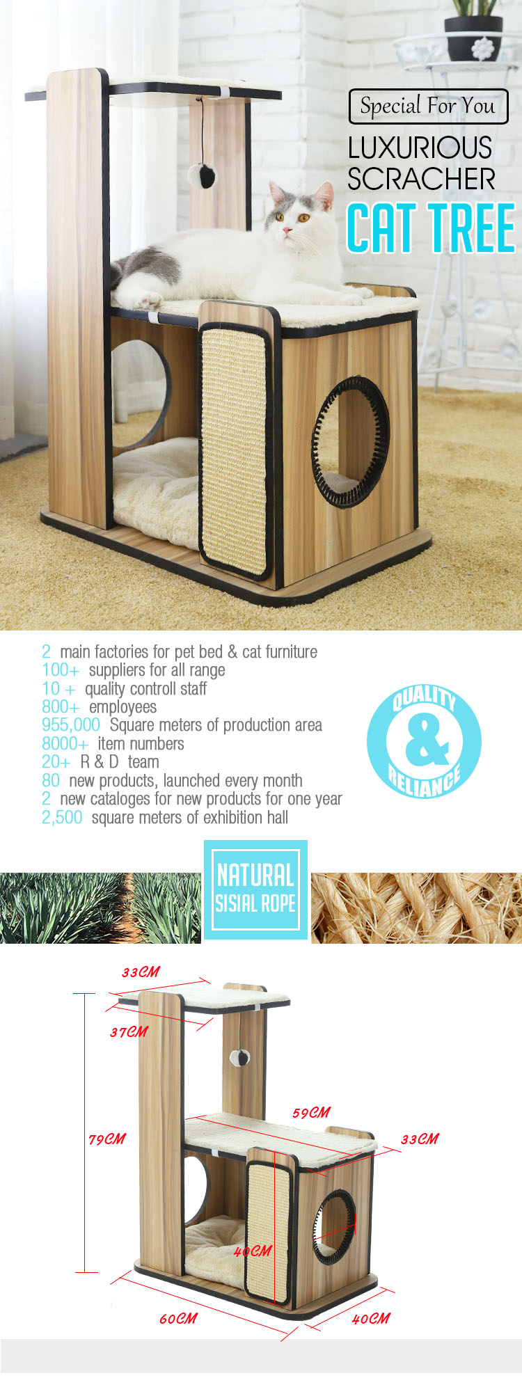 Tianyuan pet cat wood house,cat scratcher house wood