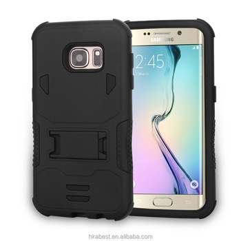 PC silicone hybrid kickstand case for Samsung galaxy S7 Edge, 3 in 1 belt clip holster case for Samsung galaxy S7 Plus
