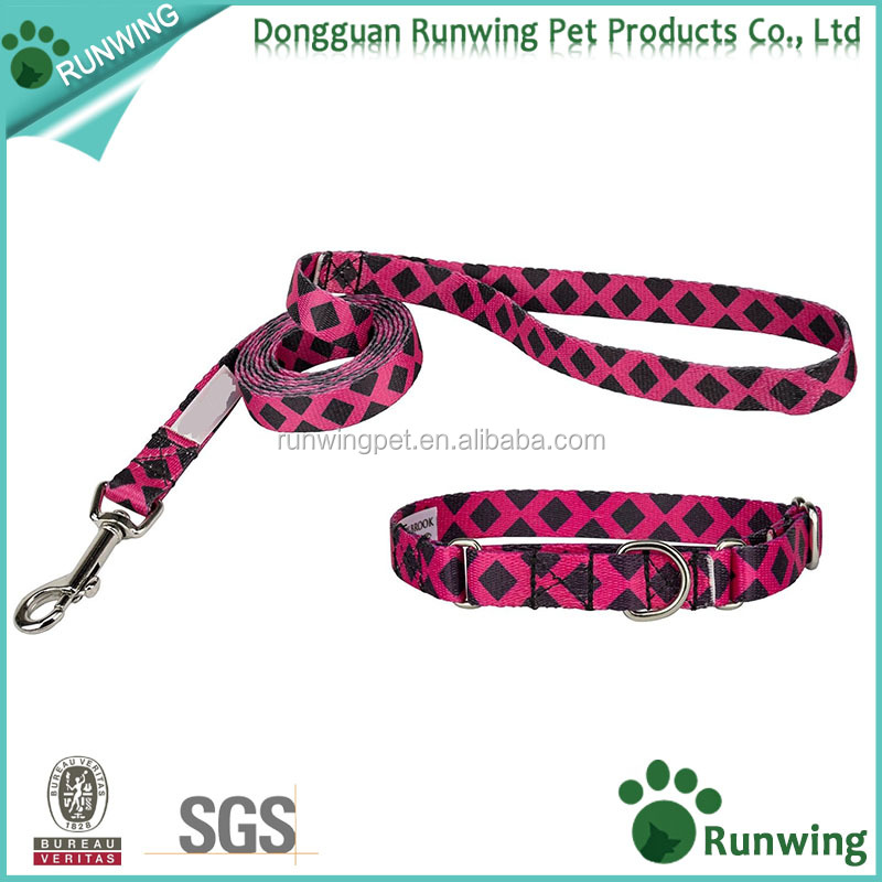 Custom Nylon Dog Collar and Leash Set with Plaid and Argyle Pattern Printing