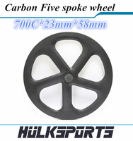 Hot Selling road rear gear carbon five wheel 700C tubular/clincher Full Carbon road 5 Spoke Bicycle Wheel