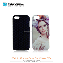 Latest New 3D 2in1 sublimation cell phone case for iPhone 5,diy phone case