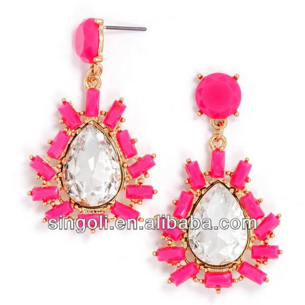 Newest hot pink bead crystal plasma drops earring