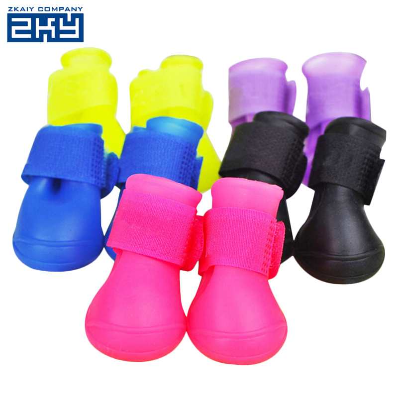S/M/L Wholesale Candy Colors Pet Dog Rain Shoes Waterproof Rubber Dog Boots