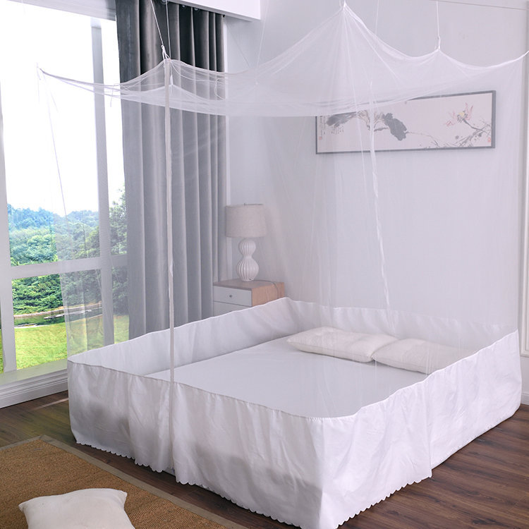 Two Door Rectangular Adult Portable King Size White Bed Canopy Net