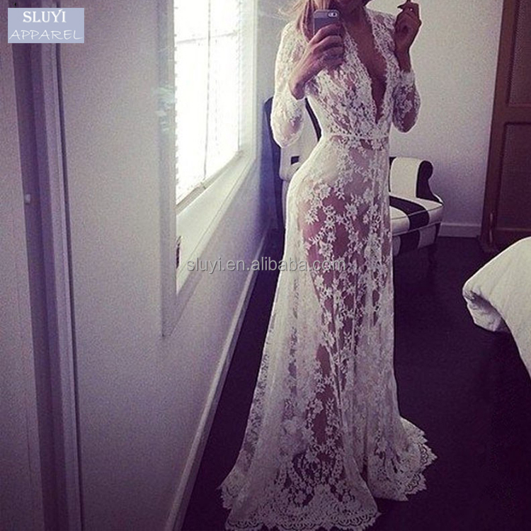vestidos plus size noche transparent lace dress European Embroidered Long Sleeve Deep V Neck sexy nighty maxi dresses