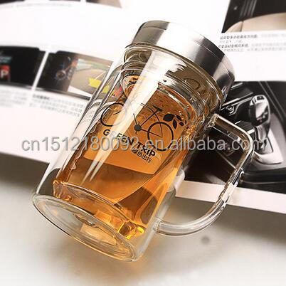 double layer clear thermos glass tea cup with stainless steel cover/filter/handle, tea mug glass with customized logo