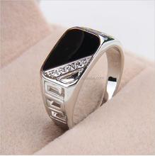Fashion enamel men's zinc alloy square hollow out crystal popular europe style rings