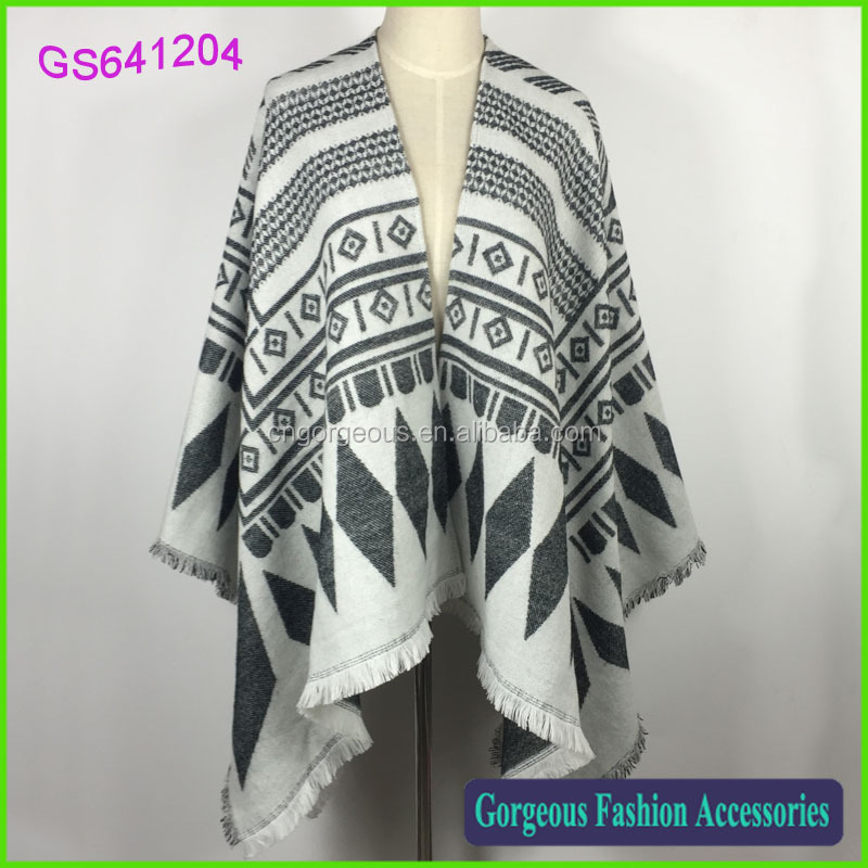 High fashion 100% acrylic cashmere feel aztec tribal print poncho shawl