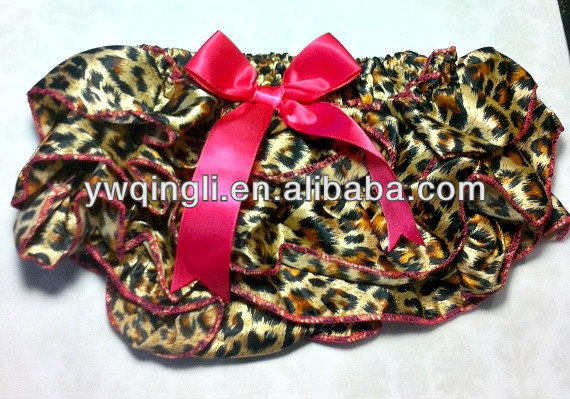Leopard Satin Baby Bloomers Diaper Cover Ruffle Back - Photo Prop Animal Print Cheetah / Hot Pink