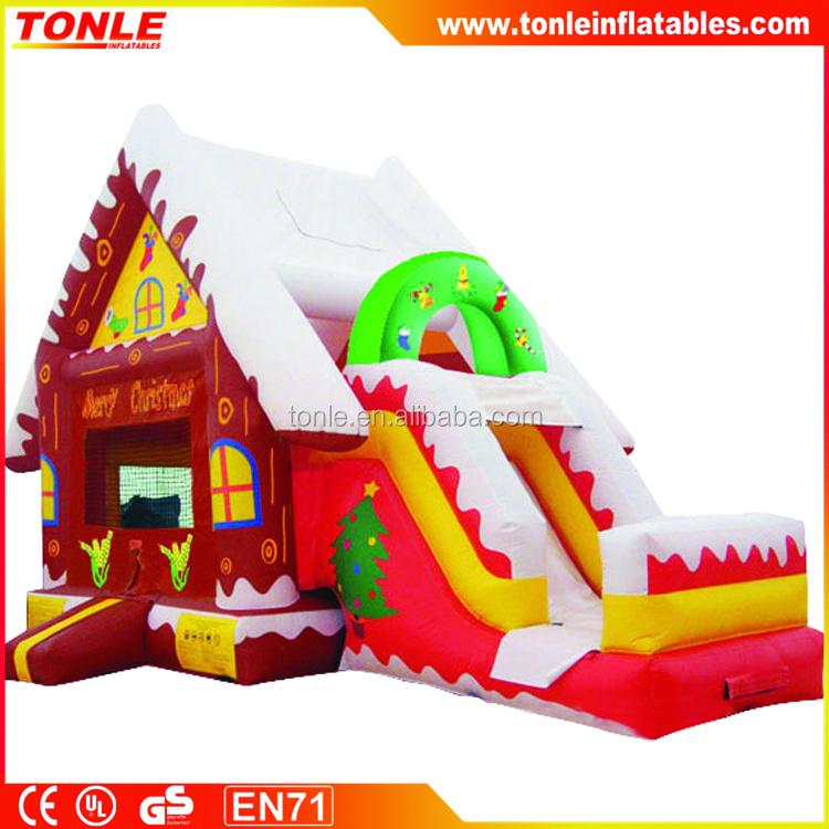 New inflatable winter cottage bouncer/ bounce house with slide for christmas