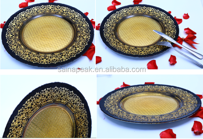 hot sale electroplating gold dining glass plate