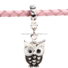 Special Design Black Enamel Dangle Owl Charm Big Hole Pendant Jewelry