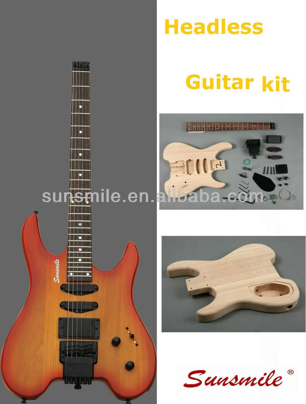 Sunburst Headless Electric guitar with Ash body SHS 11