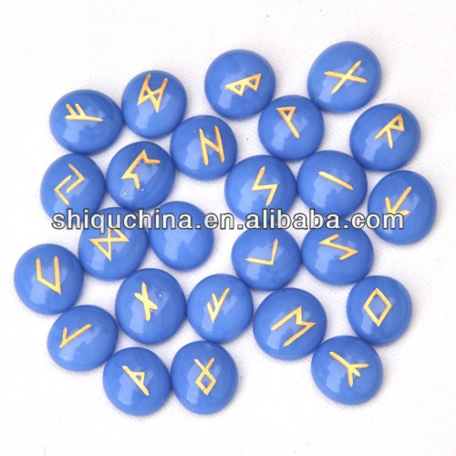 Fashion blue glass runes stone 25pcs one set for wicca
