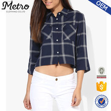Long sleeve high quality Checked Crop Shirt Navy Blue 2016 high quality