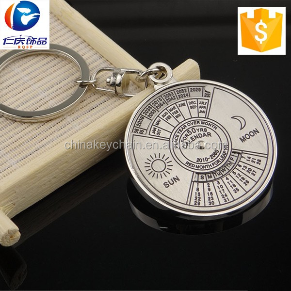 Metal 50-years calendar key chain to show date