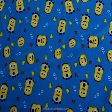 China supplier Minions printed polyester spandex supersoft plush fabric for toy material