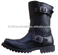 MENS LONG 2 BUCKLE LEATHER BOOTS