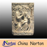 white marble stone carved 3d wall angel relief interior decoration sculpture NTMR-R192R