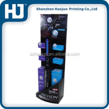 Hot selling Revlon product display stand,cardboard floor display stand cosmetic product paper display stands
