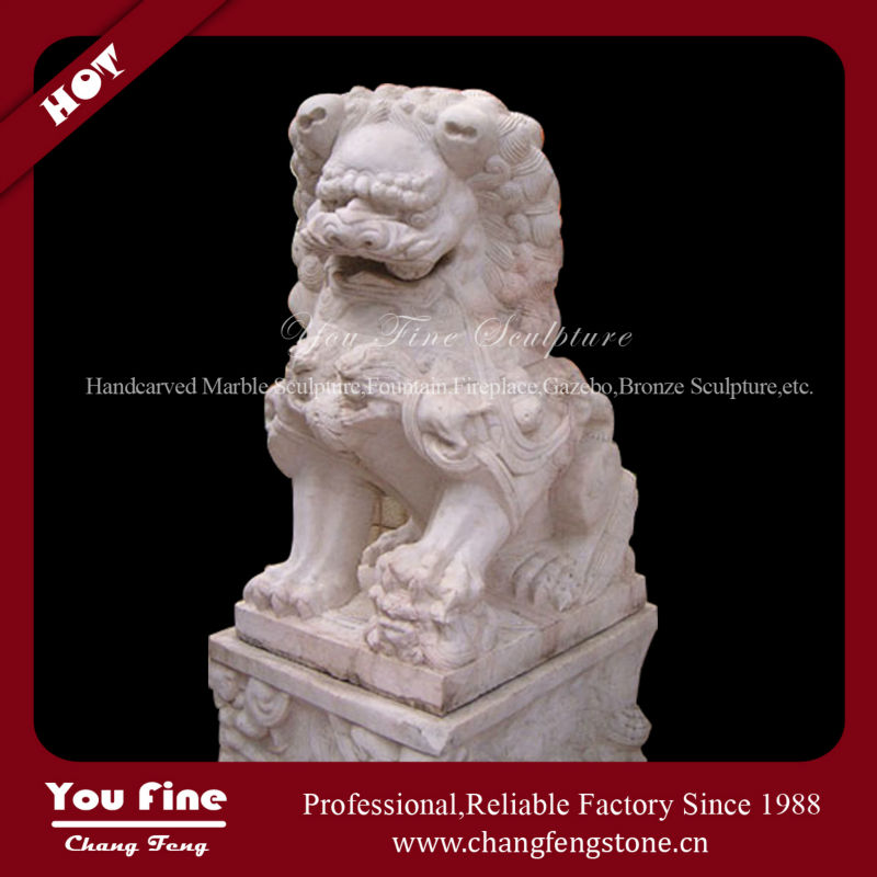 Chinese Carved Stone Lion Garden Statues
