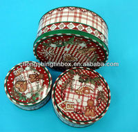 2013 new products 3 sets round shape christmas biscuit tin box from tin can manufacturer in Dongguan China