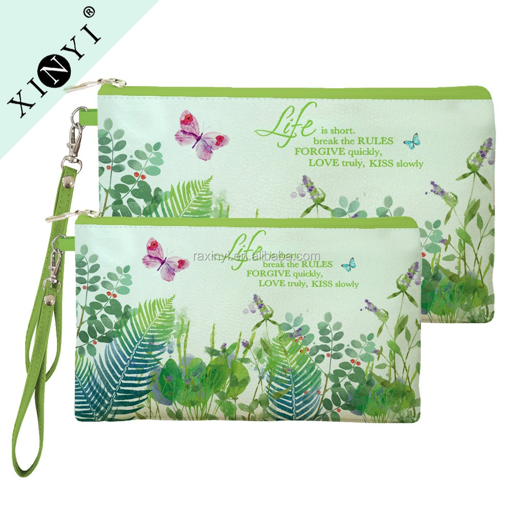 Ladies fashion design 2016 eco beauty makeup bags pouch small customized printed promotional cosmetic bag