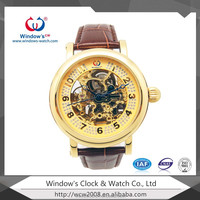 2015 high quality plated gold watch for man automatic watch men skeleton