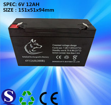 Factory supply mf rechargeable 6v 12ah lead acid battery for ups solar system