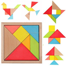 Educational Toy Colorful Wooden Brain Training Geometry Tangram Puzzle