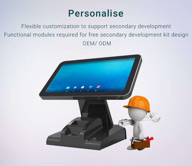 Android Dual Touch Screen 15.6 inch with 58mm printer Cash Register Countertop Pos Terminal