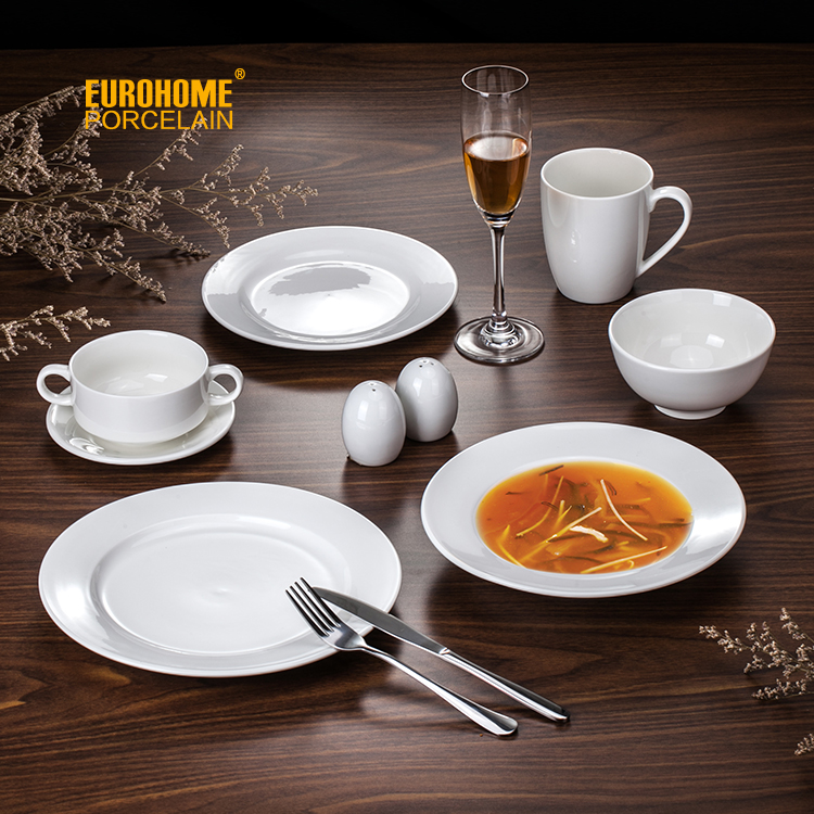 wholesale hotel restaurant wedding custom white luxury royal bone china crockery tableaware ceramic porcelain dinner set