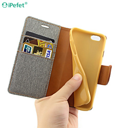 Flip Cover Canvas PU Leather Smart Case Cover for iPhone Flip Case