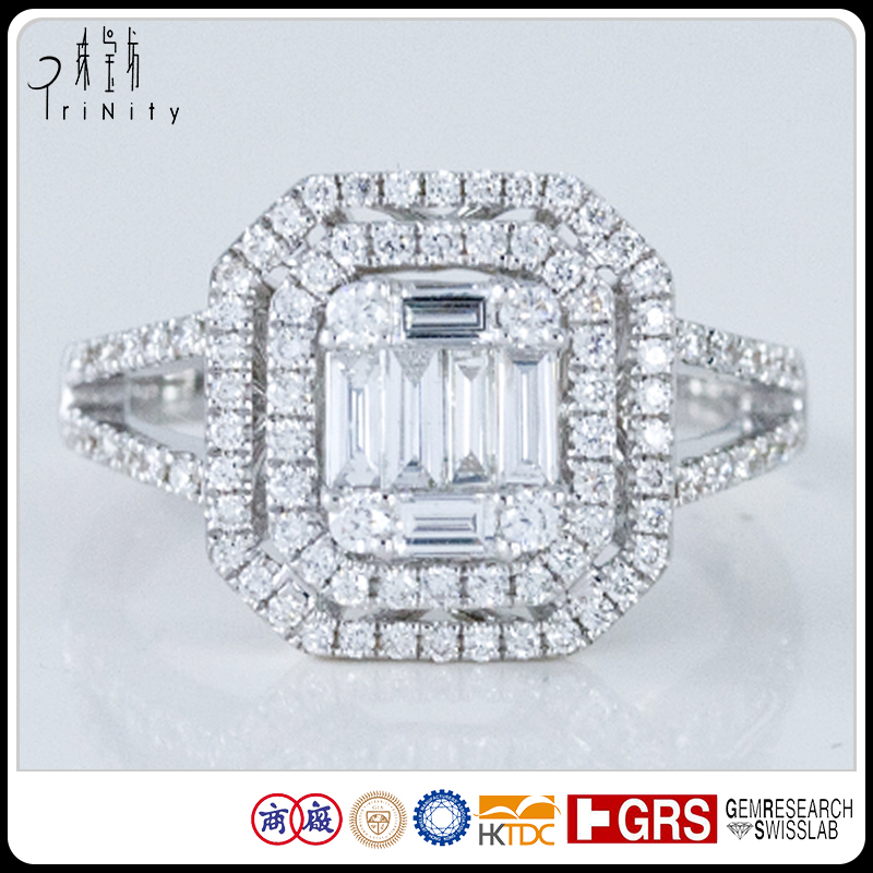 Victoria Illusion Setting Tapering Tapered Baguette Round Cut Diamond Halo Engagement Ring Rectangular and Square Ring Setting