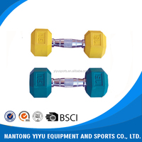 China manufacturer wholesale rubber coated hex dumbbell , rubber dumbbell