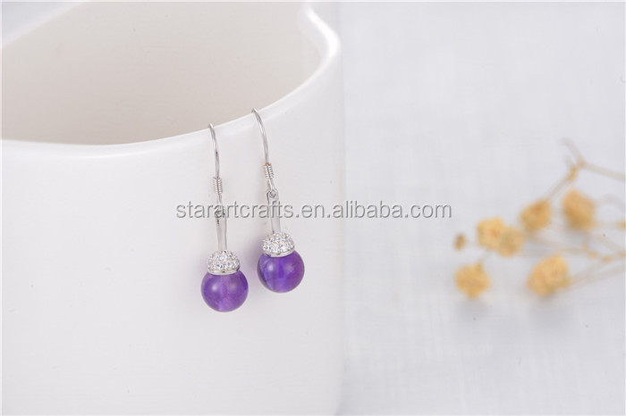 925 Sterling Silver Costume Earring, 8mm purple nature crystal Earring Jewelry