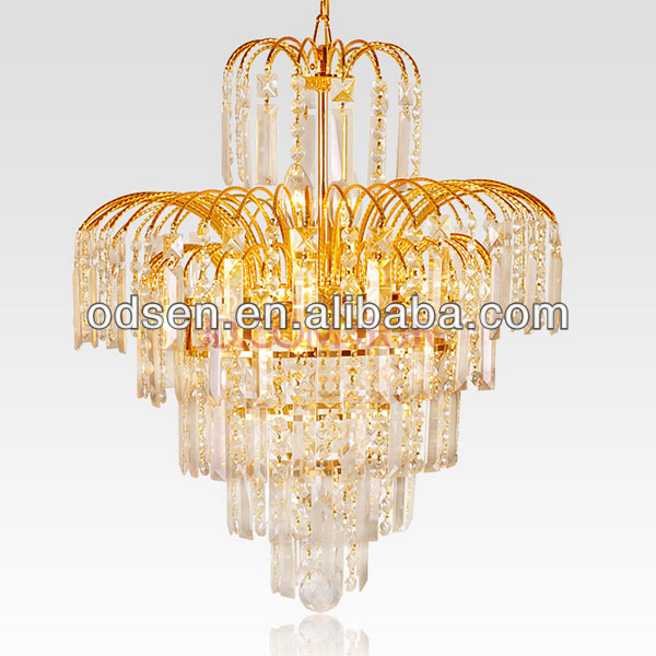 Gold color europe crystal chandelier with brass finish