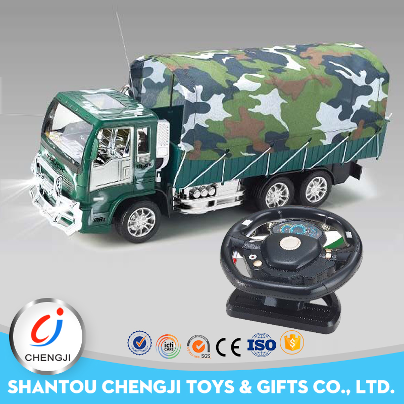 New model 1:18 scale military promotional plastic rc toy military truck for sale