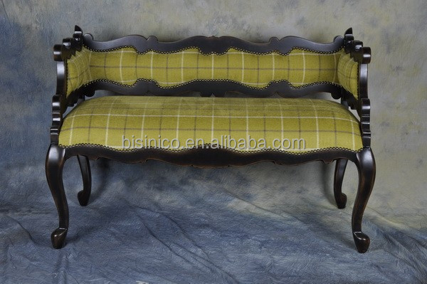 Chinese style living room two seat solid wood sofa