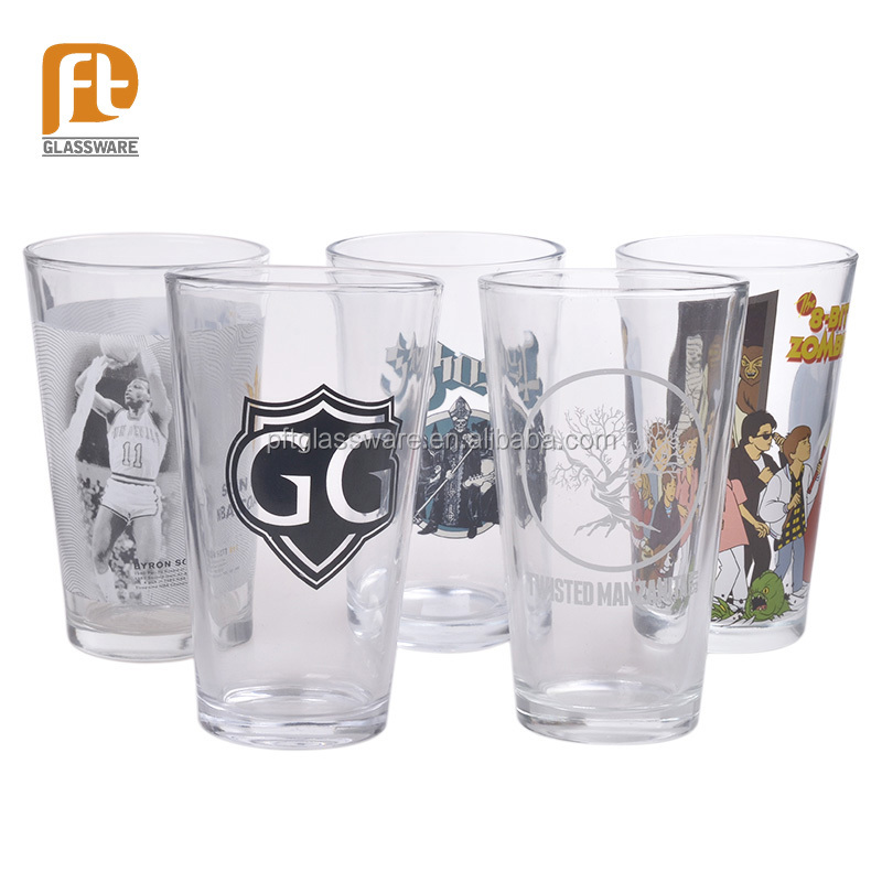High quality OEM design printing 16 oz Iceberg Ice Mountain clear pint beer glass cup