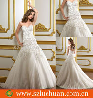 Fashion hand embroidery wedding dresses for big women